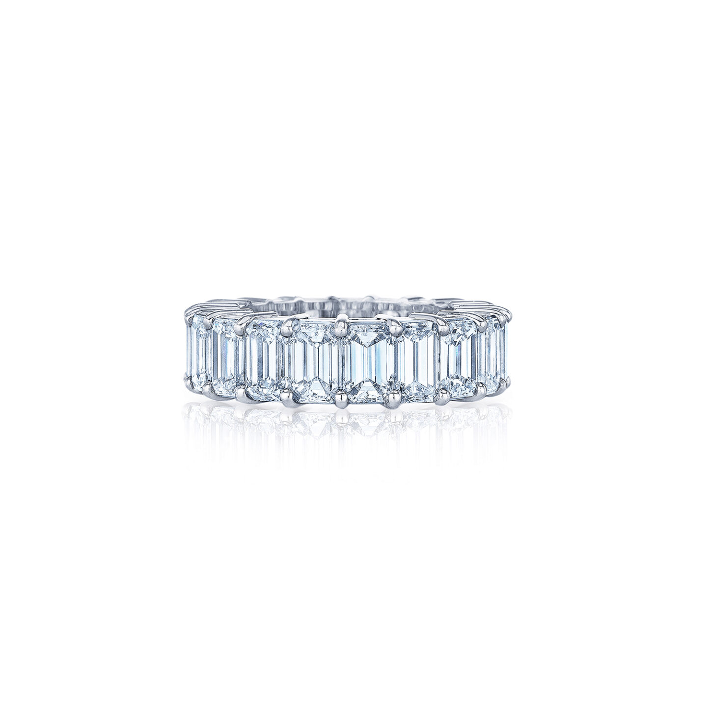 This is a photo of Emerald Cut Diamond Shared Prong Eternity Band