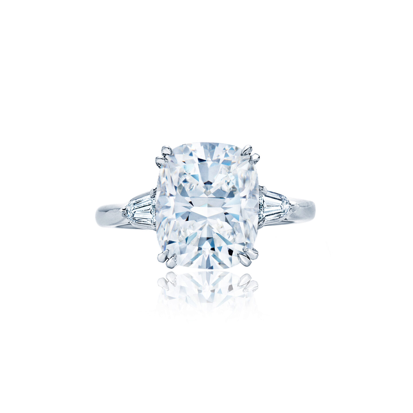 Cushion Cut Diamond Engagement Ring With Two Bullet Side Stones In Platinum Kwiat