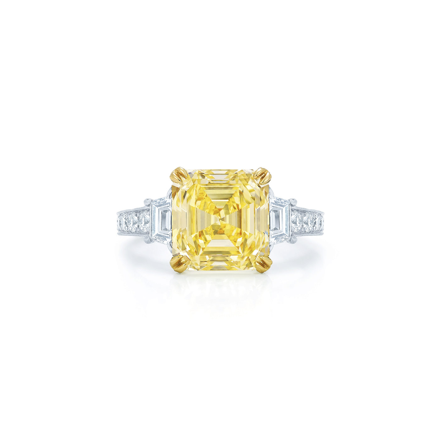 Yellow Asscher Cut Diamond Engagement Ring With Two Trapezoid Side Stones In A Vintage Style In