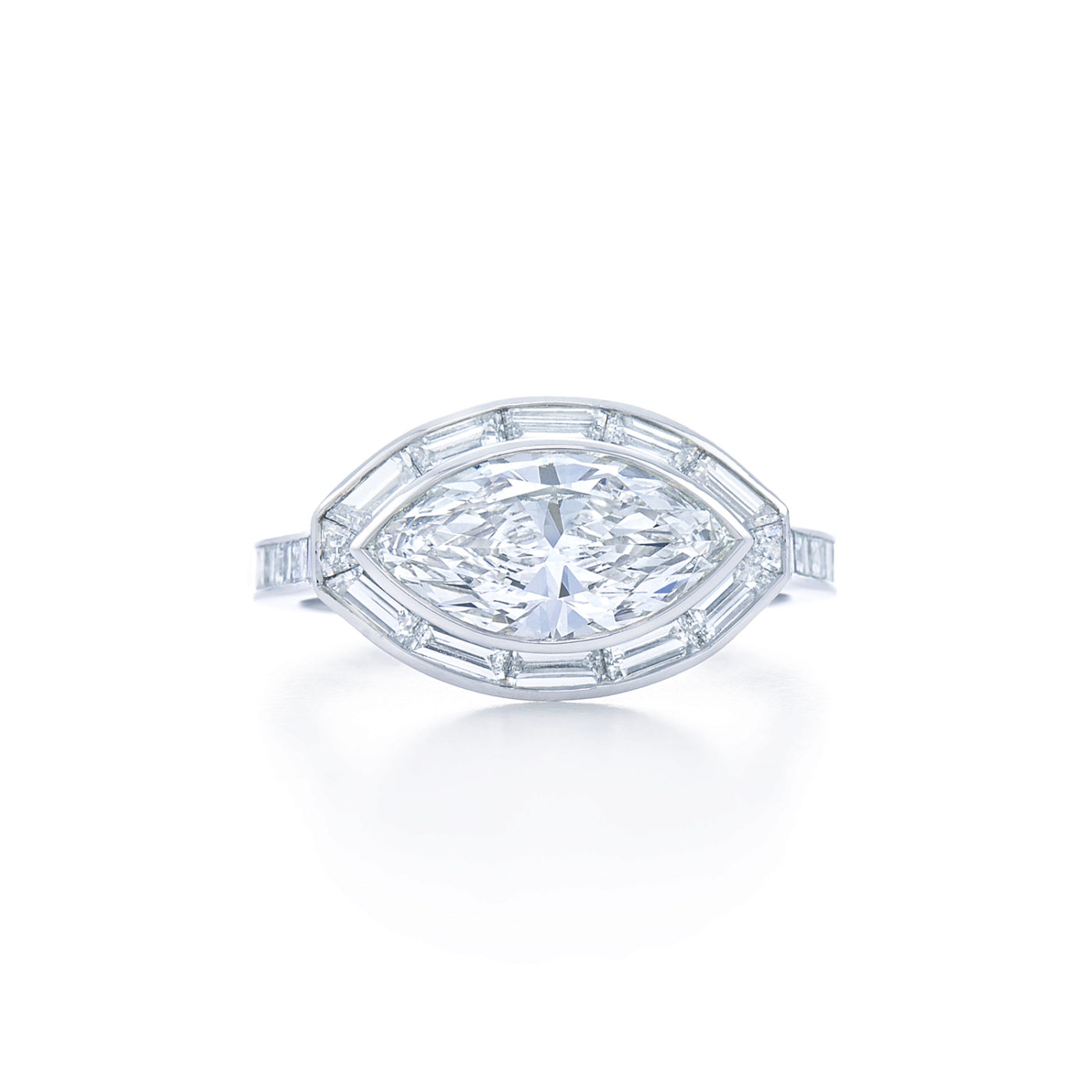 Marquise Diamond Engagement Ring Set East West With A Baguette Diamond Halo In Platinum Kwiat