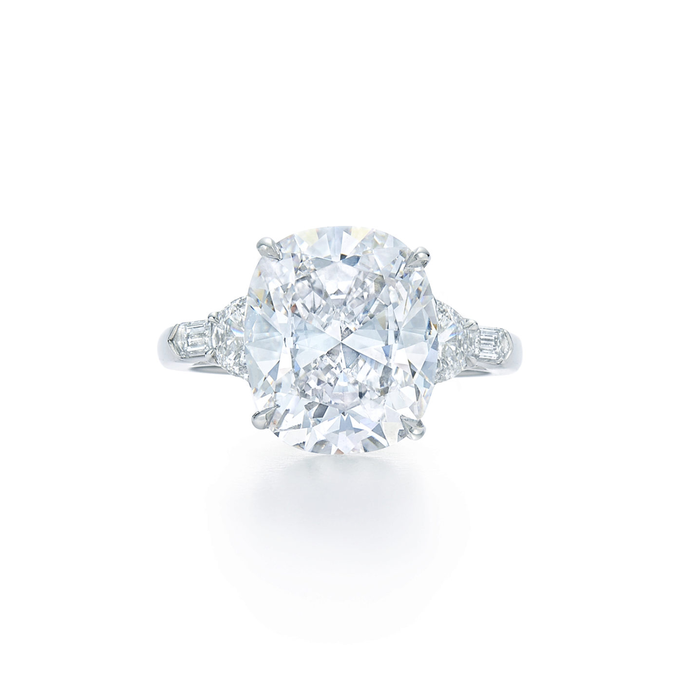 Cushion Cut Diamond Engagement Ring With Half Moon And Bullet Side Stones In Platinum Kwiat
