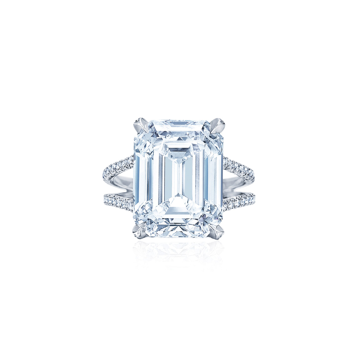 Emerald Cut Diamond Engagement Ring With A Wide Split Diamond Band In Platinum Kwiat
