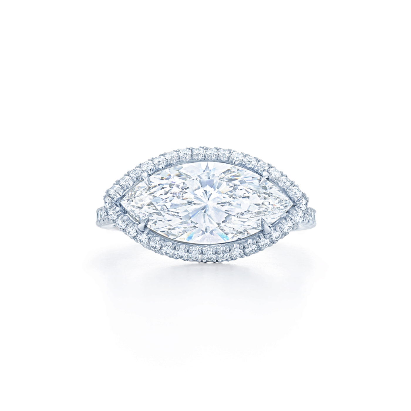 Marquise Diamond Engagement Ring Set East West With A Pave Diamond Halo In Platinum Kwiat