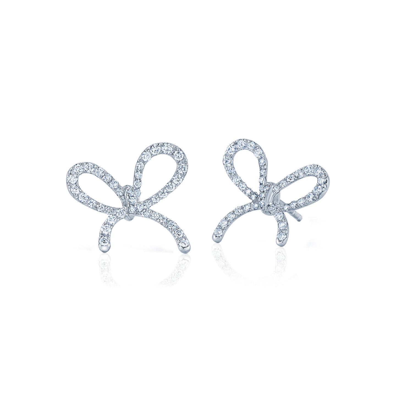 White Bow Earrings