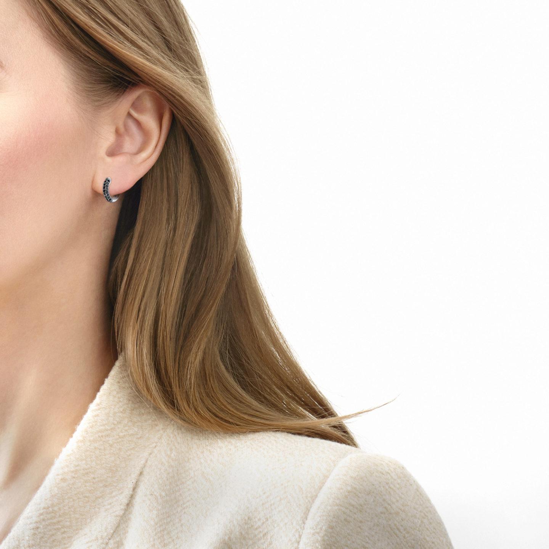 Moonlight Petite Hoop Earrings With Pave Black Diamonds In 18k White Gold Kwiat