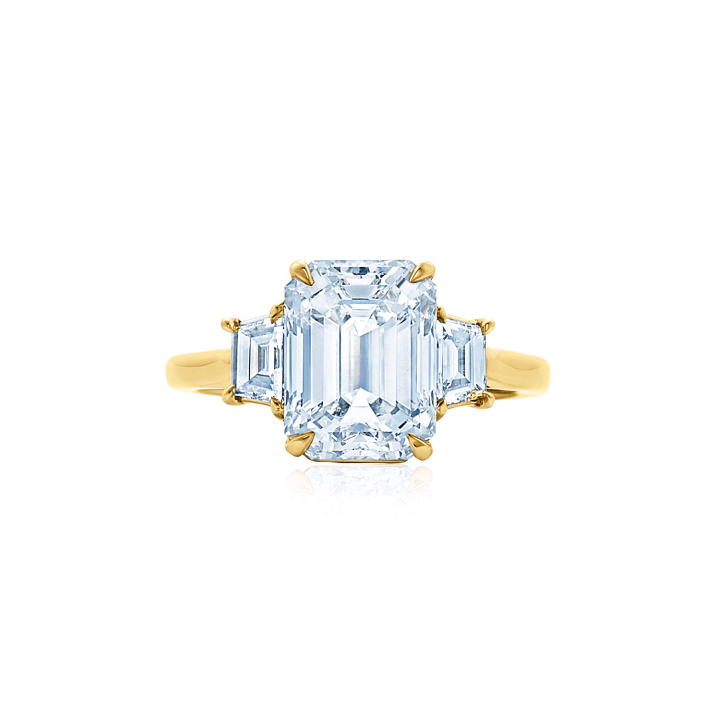 Emerald Cut Diamond Engagement Ring With Two Step Cut Trapezoid Side Stones In 18k Yellow Gold