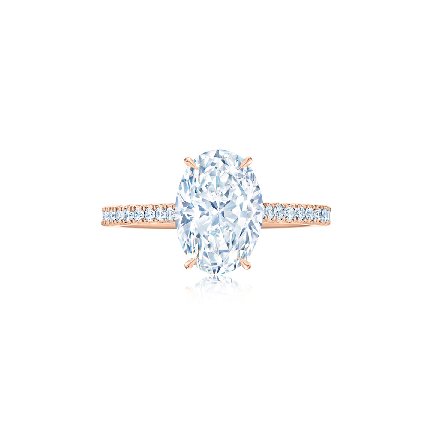 The Kwiat Setting Oval Diamond Engagement Ring With A Thin Pave Diamond Band In 18k Rose