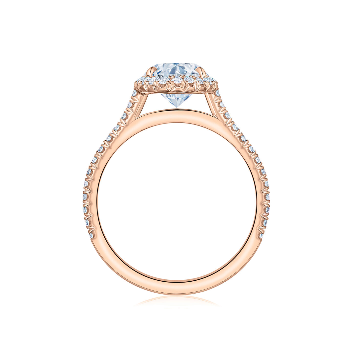 The Kwiat Setting Oval Diamond Engagement Ring With A Thin Pave Diamond Halo In 18k Rose