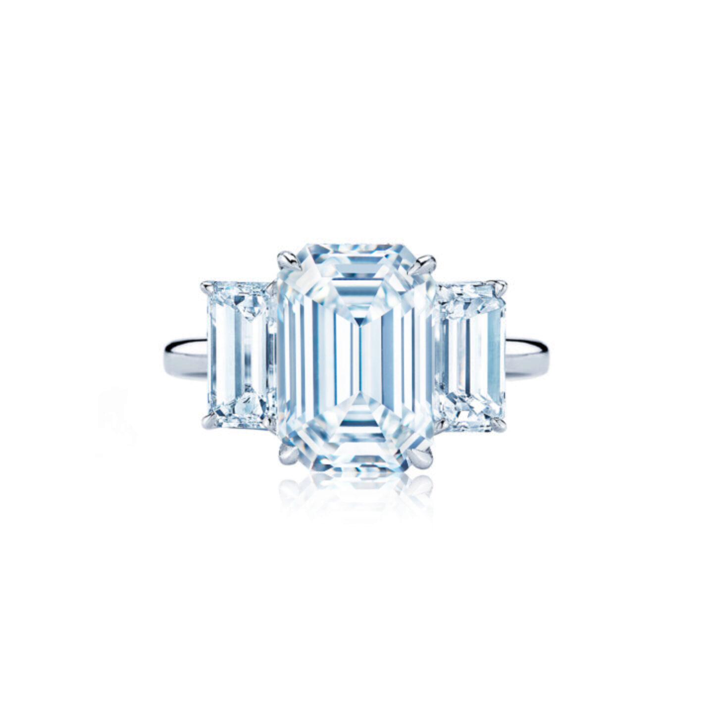 Three Stone Emerald Cut Diamond Engagement Ring In Platinum Kwiat