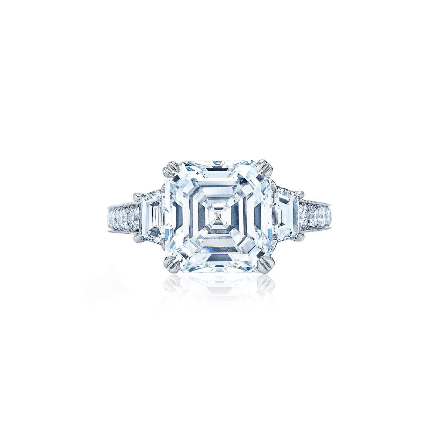 Asscher Cut Diamond Engagement Ring With Two Trapezoid Side Stones In A Vintage Style In Platinum