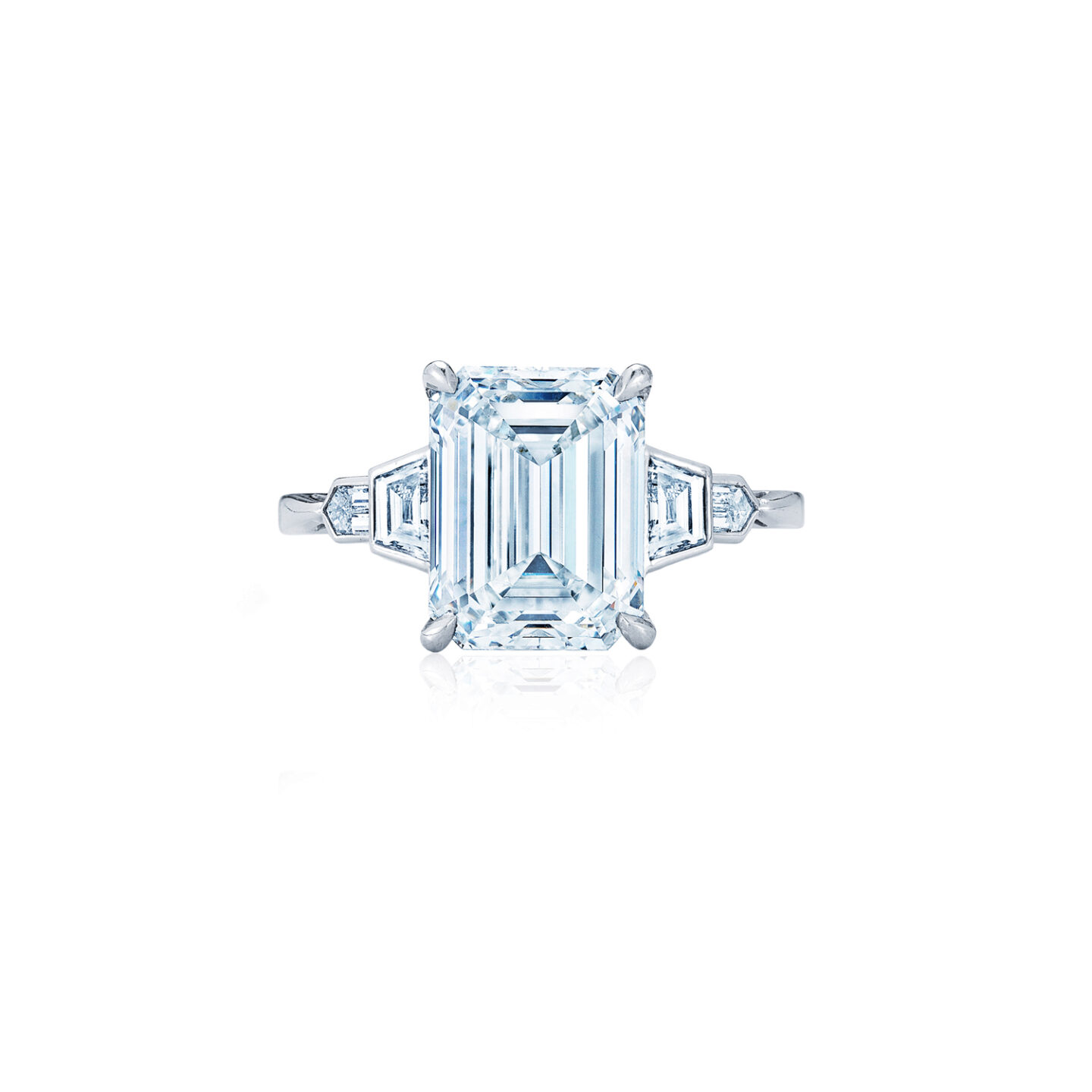 Emerald Cut Diamond Engagement Ring With Bezel Set Trapezoid And Bullet Side Stones In Platinum